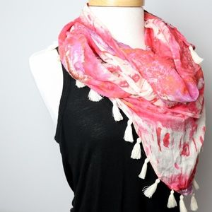 Pink and White Watercolor Tassle Scarf